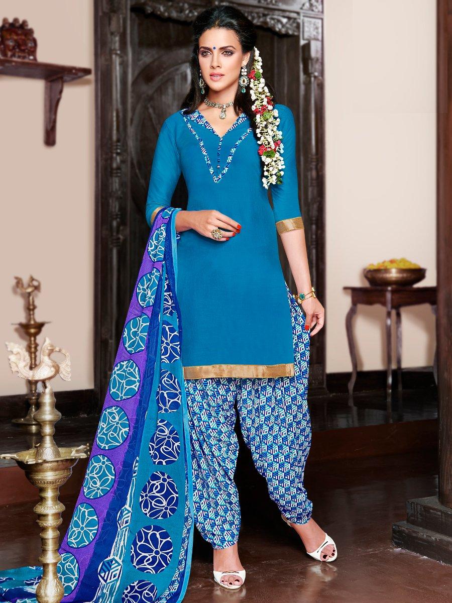 065abe8e51 Unstiched Blue & Blue Designer Cotton Print Patiala Suits | R-su-12 |  Cilory.com