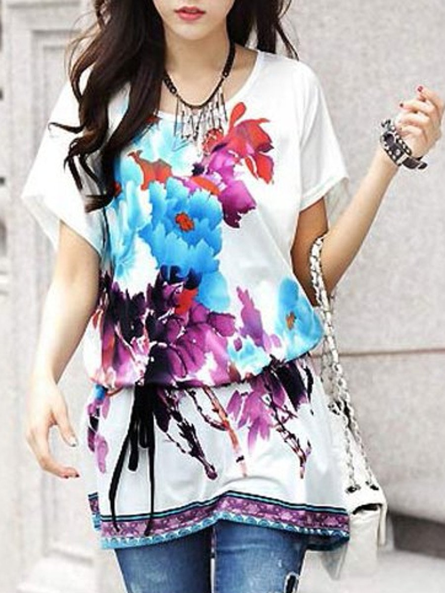 e501462d24f Elegant Floral Print Long Top