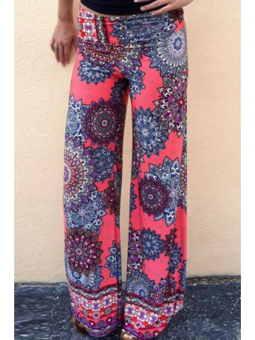 Mid-Waisted Printed Wide Leg Palazzo Pants at cilory