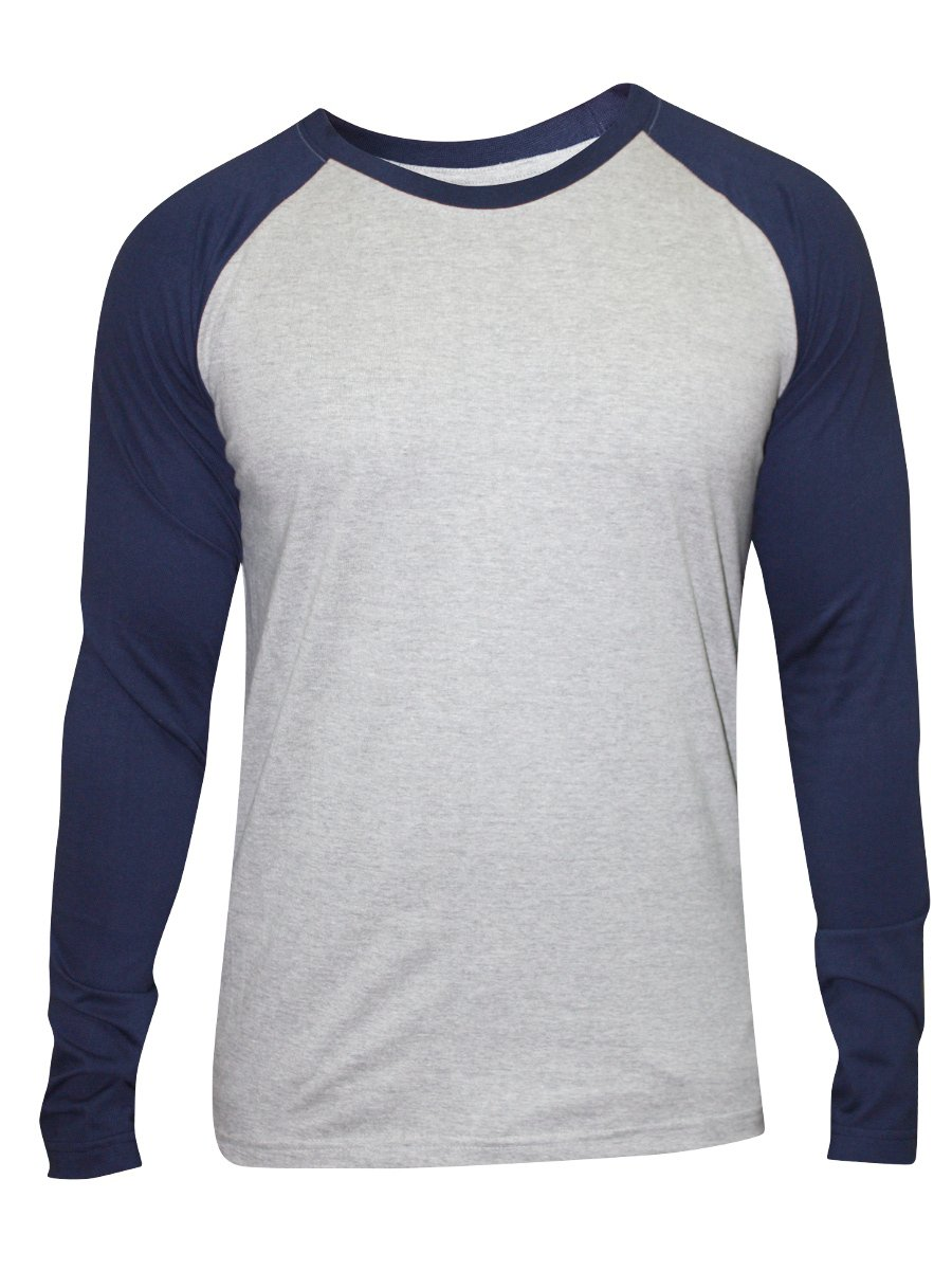 Nologo grey navy round neck full sleeve t shirt nologo for Full sleeves t shirts for men
