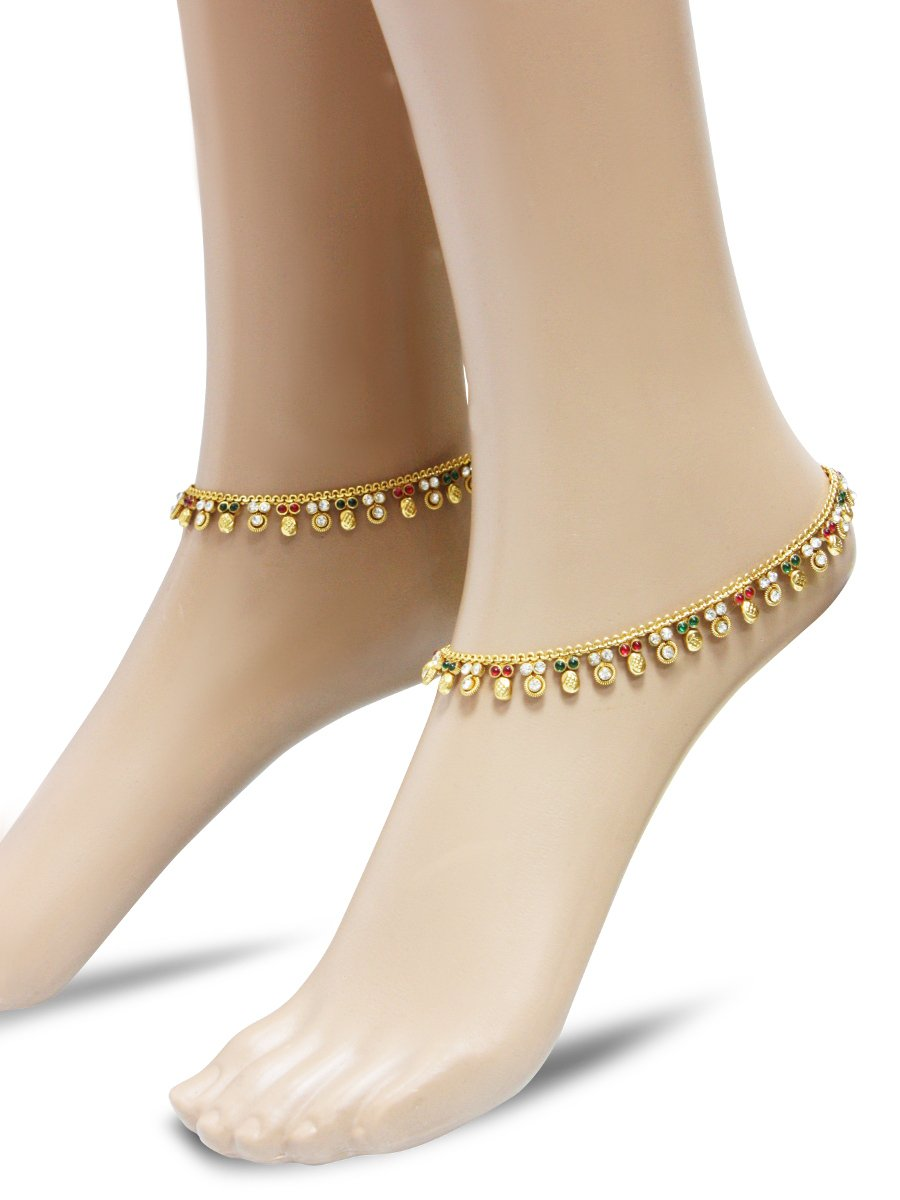Beautiful Designer Anklets Carved With Stone And Beads ...