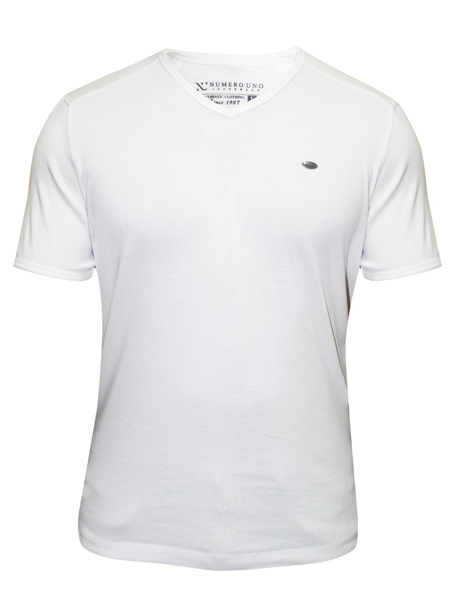 Numero uno white v neck t shirt nmfnhz608 white for Thick v neck t shirts