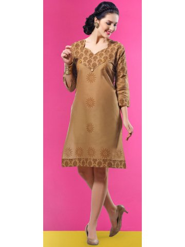 Royal Golden Brown Cotton Kurti at cilory