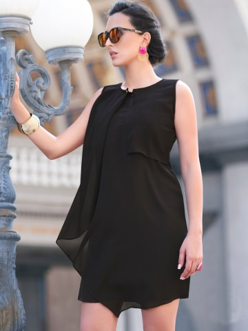 Shine Black Poly Georgette Kurti at cilory