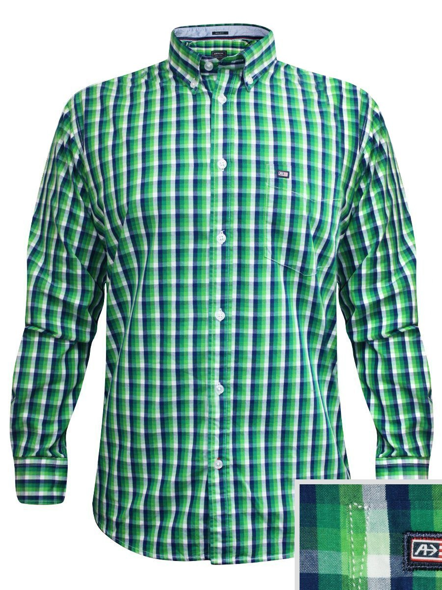 Arrow green formal check shirt asrs3223 fs for Shirt printing places near me