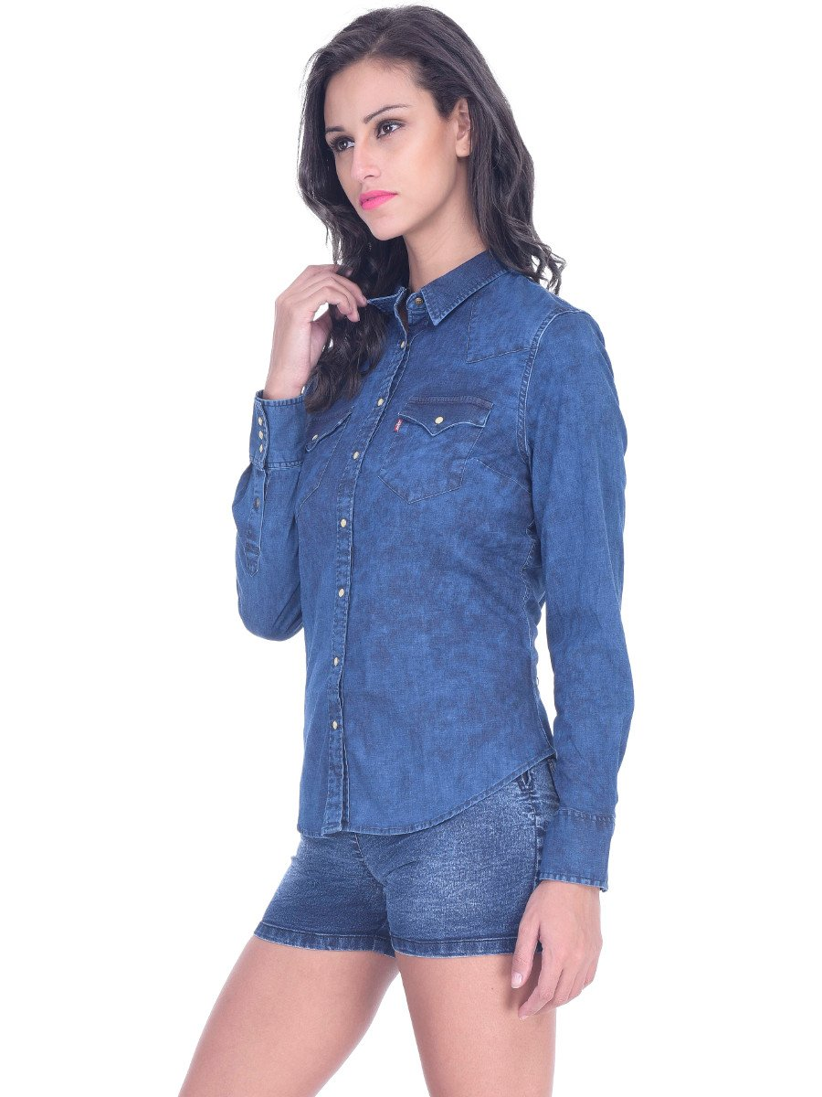 Levis denim blue women shirt 18668 0003 for Blue denim shirt for womens