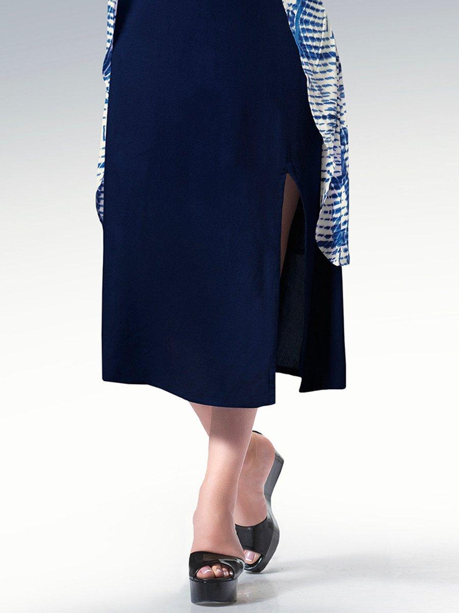 d1eac0226 Titli Blue   White Rayon Kurti