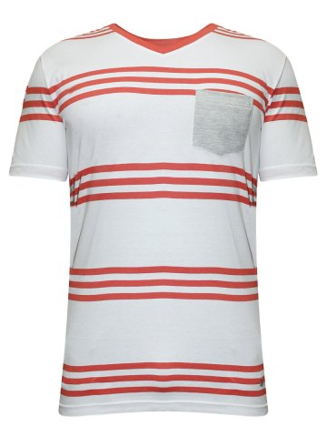 Undercolors of Benetton White & Red V Neck Tee at cilory