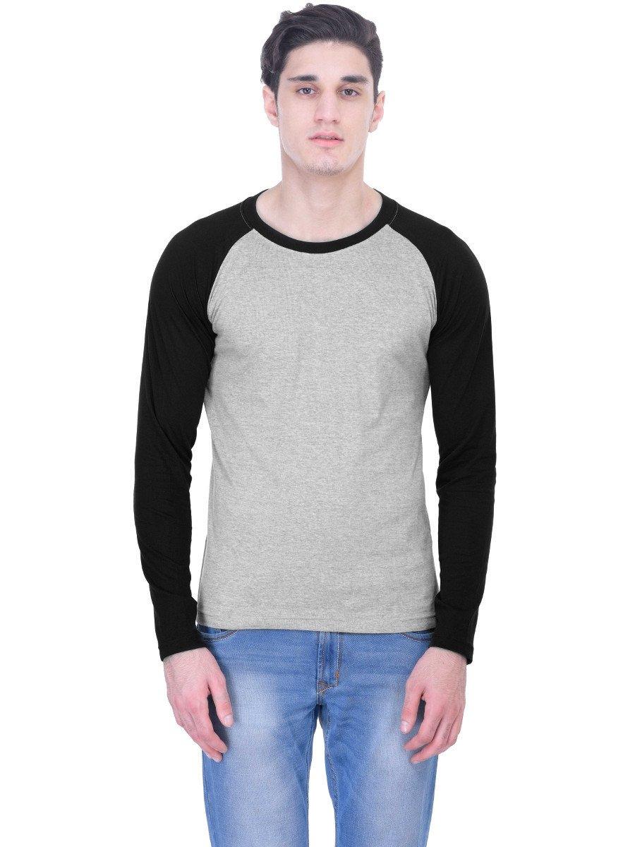 84b10ea43 Nologo Grey   Black Round Neck Full Sleeve T Shirt