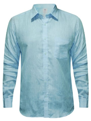 Turtle Sky Blue Formal Cotton Linen Shirt at cilory
