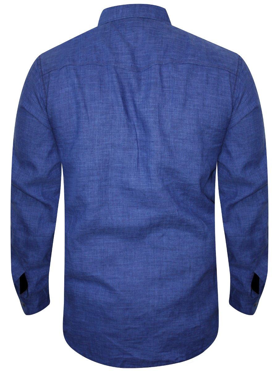 488e7d31 Spykar Royal Blue Casual Cotton Linen Shirt | Msh304lf02af-ink ...