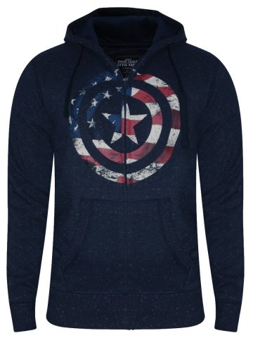 Captain America Navy Zipper Hoodie at cilory