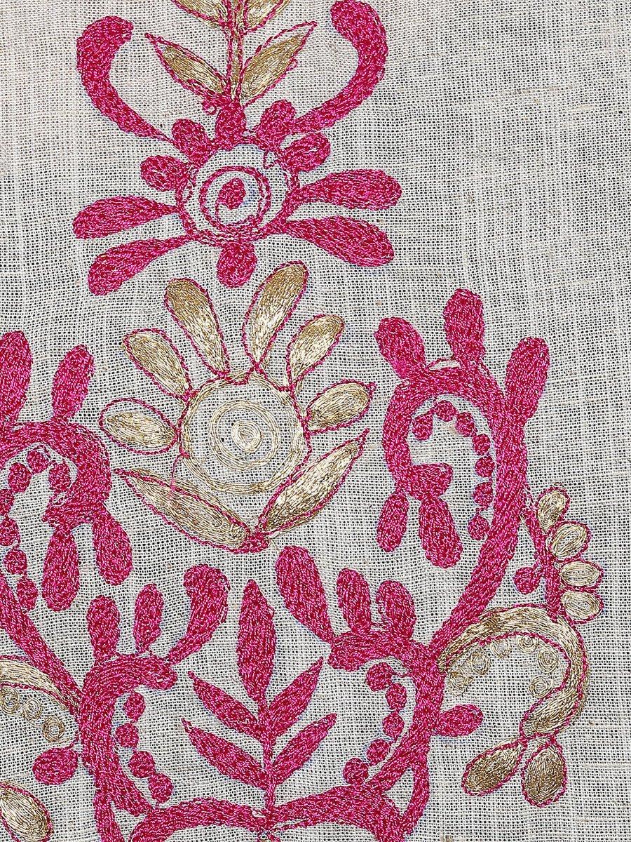 Jk cotton flex off white hand embroidery kurta