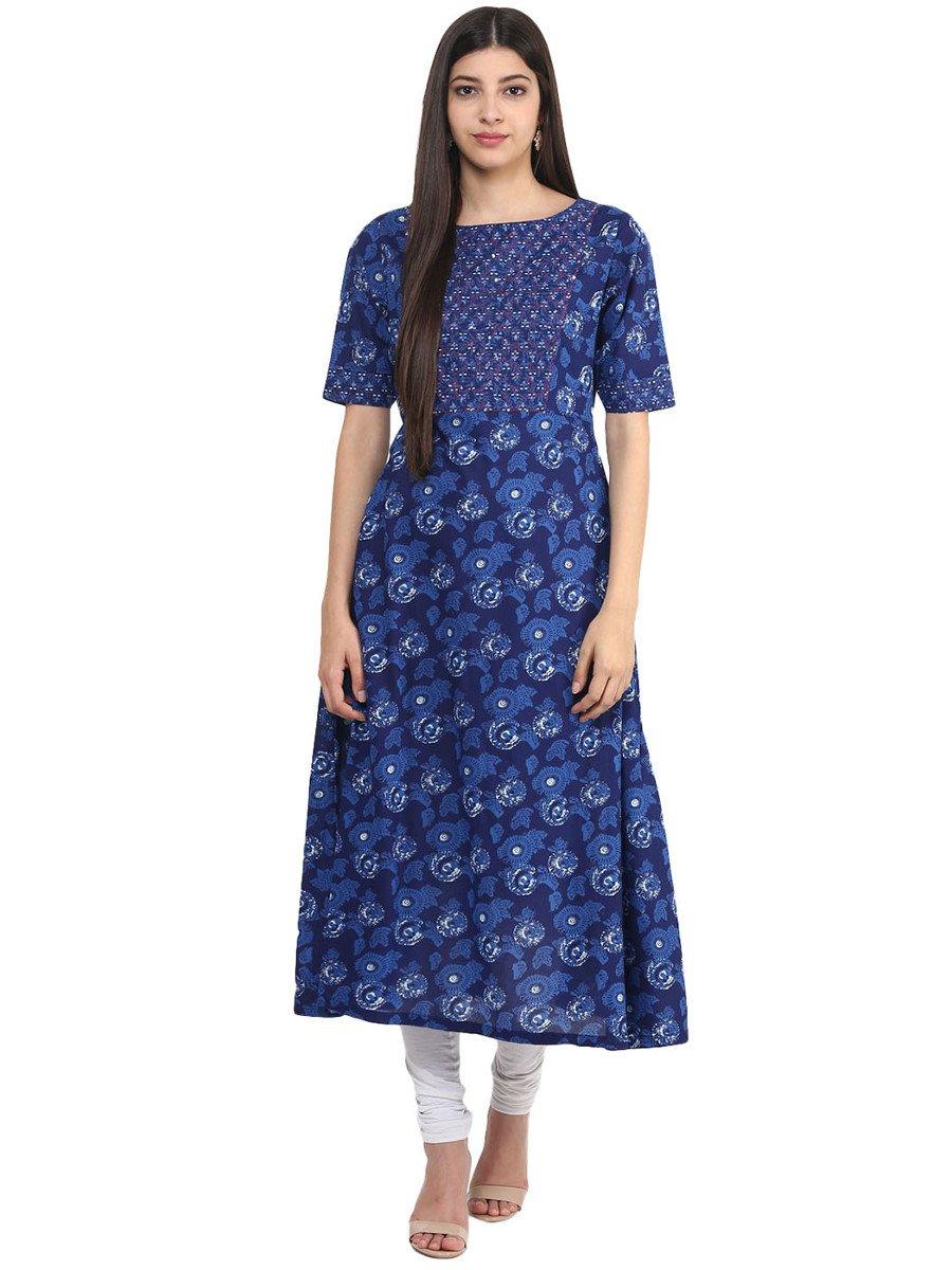 Jk cotton indigo hand embroidery kurta cilory