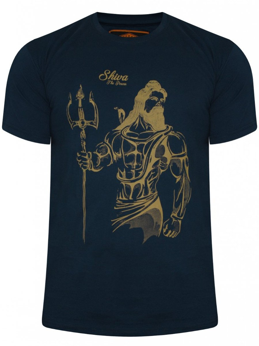 Buy t shirts online shiva navy round neck t shirt for Make photo t shirt online