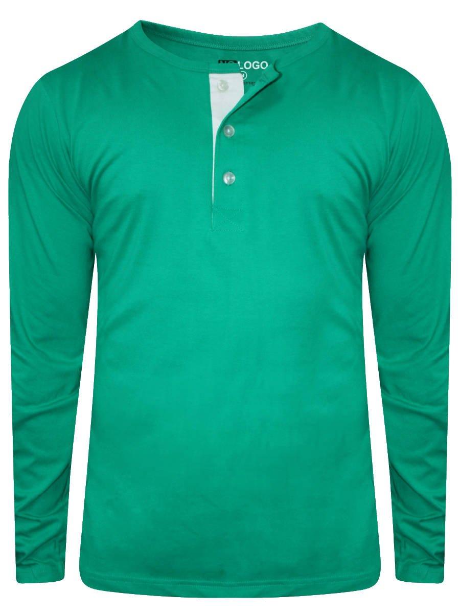 Nologo Sea Green Henley Full Sleeves T-shirt | Nologo-hnf-155 ...