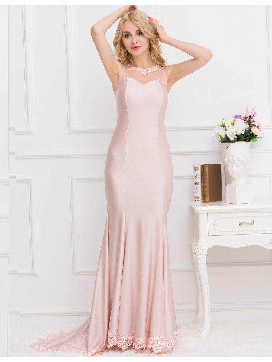 Apricot Transparent Gauze Evening Dress | V1004 | Cilory.com
