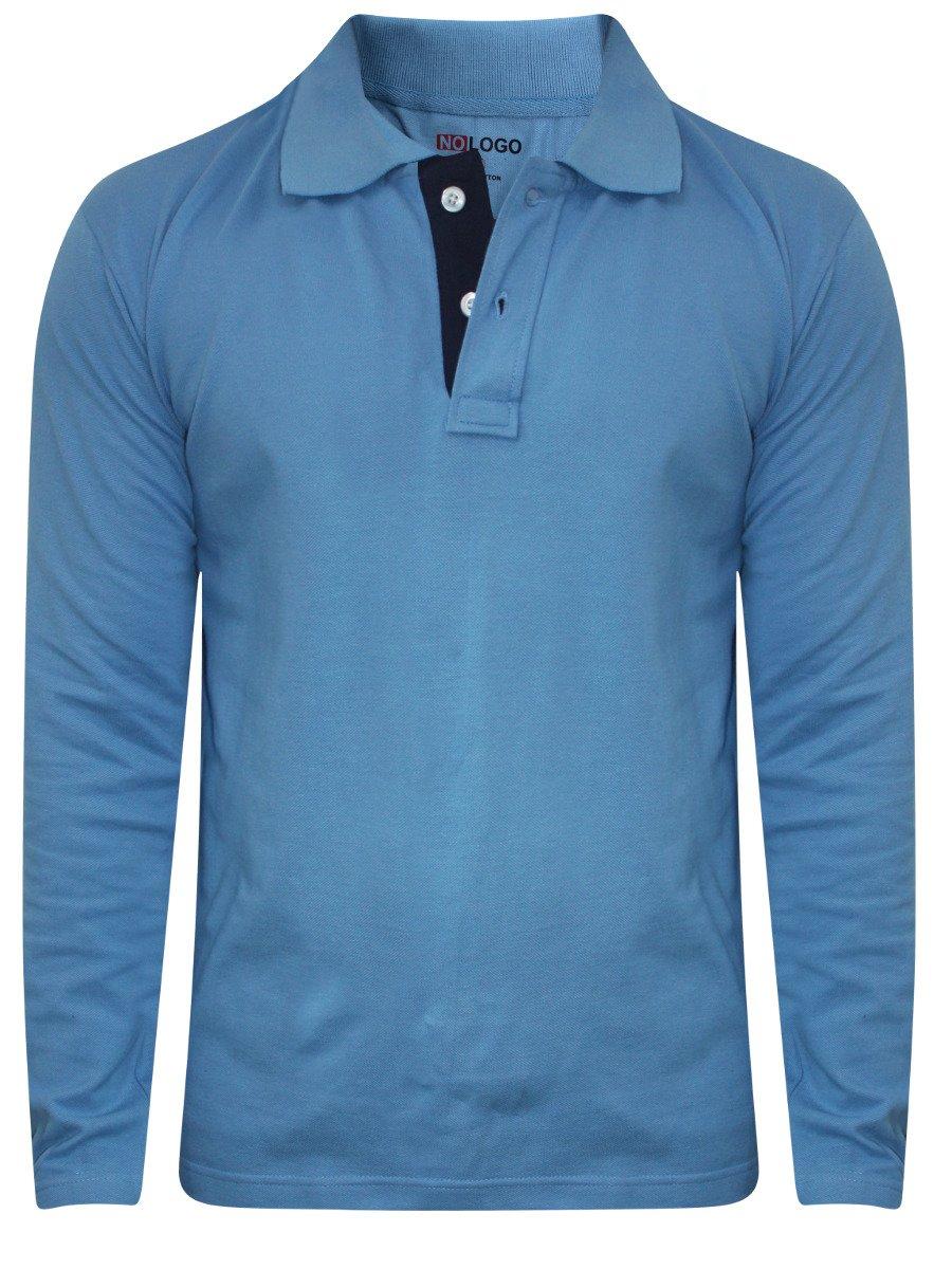 Nologo sky blue polo full sleeves t shirt nologo fst 168 for Full sleeve polo t shirts