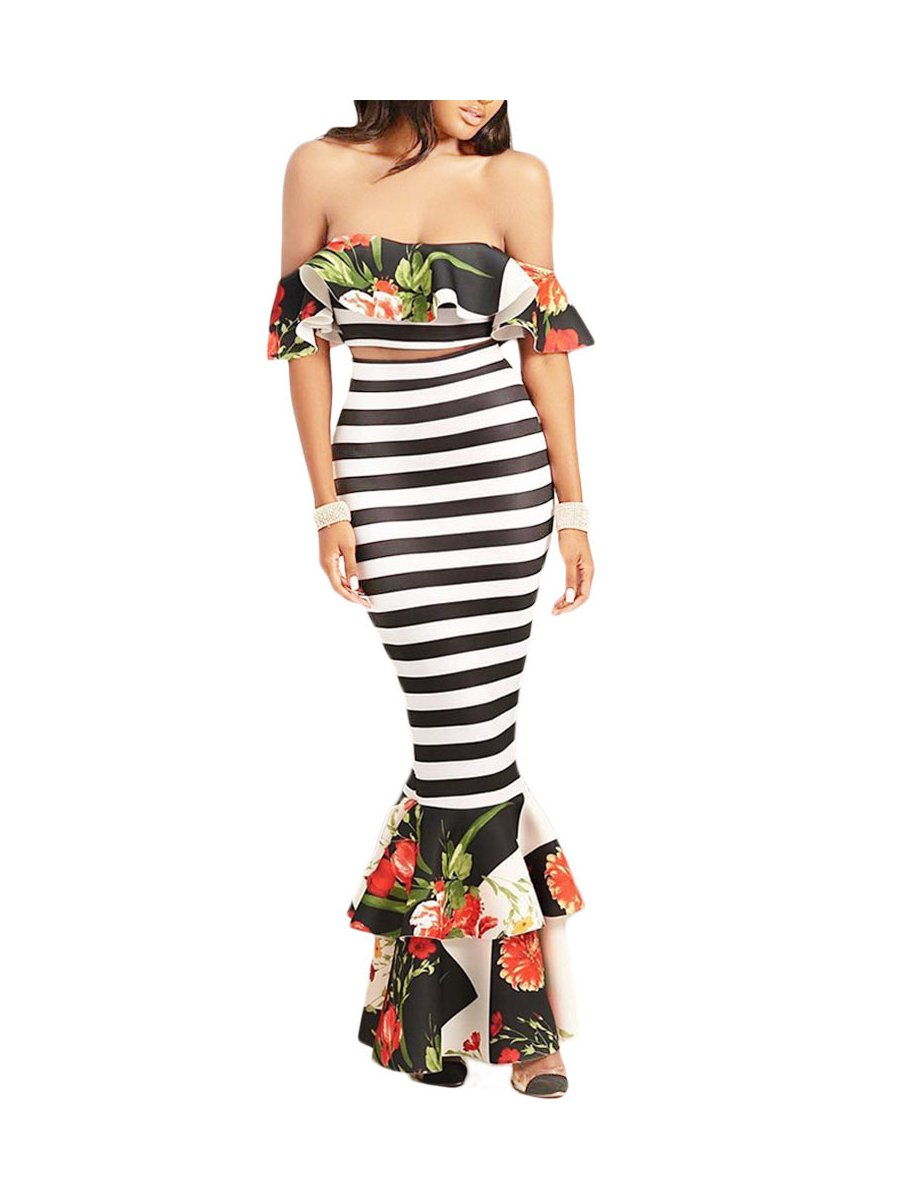 0c069533ec7 Floral Ruffle Accent Striped Crop Top And Skirt Set
