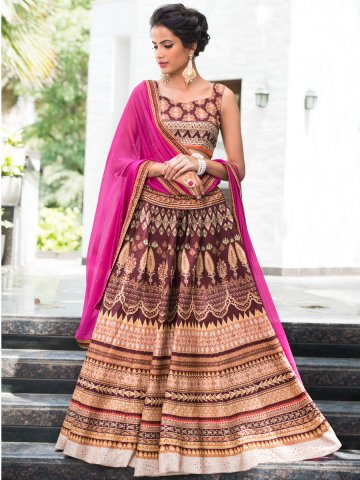 Mintorsi Wine & Brown Un-stitched Lehenga with Blouse at cilory