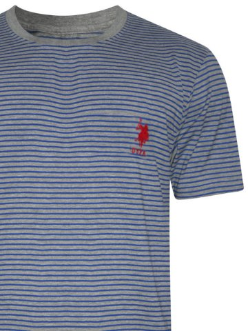 U.S. Polo Grey & Blue Round Neck T-Shirt at cilory