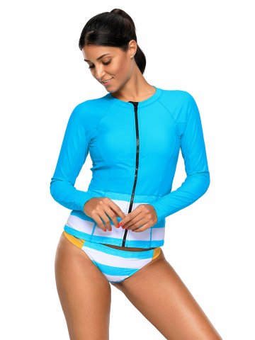 4446873ce2 >Blue White Contrast Long Sleeved Zip Rashguard Swimsuit.  https://static8.cilory.com/316821-thickbox_default/blue-