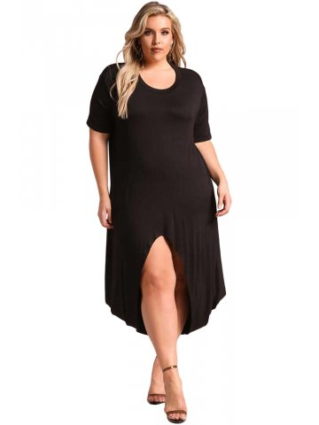Black Plus Size Hi-Lo Slit Jersey Knit Maxi Dress