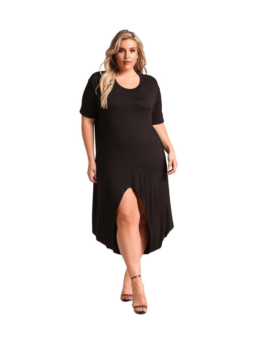 Black Plus Size Hi-lo Slit Jersey Knit Maxi Dress | E61889-2 ...