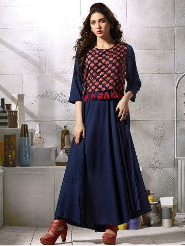 Regular Wear.  Kessi Navy Blue   Black Cotton Printed Gown Style Kurti.  https   static5.cilory.com 324190-thickbox default kessi- 5e514d061