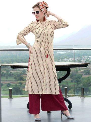 a27aa04fc0 Ikat Cream Rayon Cotton Printed Kurti | Tips&tops-504 | Cilory.com