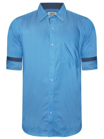 Turtle Pure Cotton Sky Blue Solid Shirt at cilory
