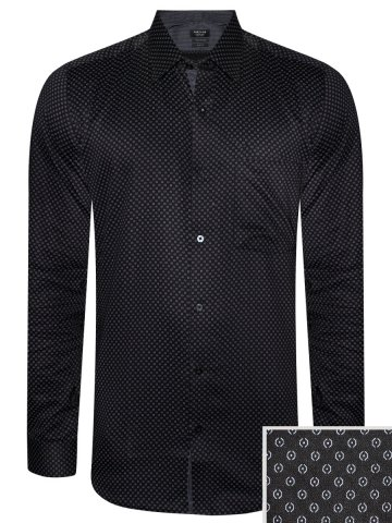 Turtle Pure Cotton Black Printed Shirt at cilory